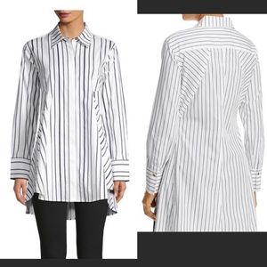 DKNY Flared Pinstriped Tunic Button Up Size L